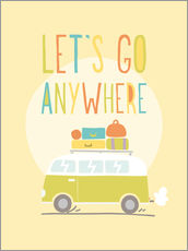 Selvklæbende plakat  Let's go anywhere - Typobox