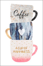 Selvklæbende plakat  A cup of happiness - Elisabeth Fredriksson