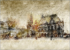 Galleritryk  Bremen market marketplace modern and abstract - Michael artefacti