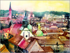 Galleritryk  Graz, view to the cathedral - Johann Pickl