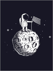 Selvklæbende plakat The first man on the moon
