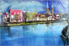Galleritryk  Lübeck, painter angle with cathedral - Johann Pickl