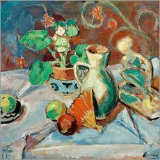 Galleritryk  Still life with a white pitcher, plastic, fans and oranges - Oskar Moll