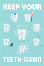 Selvklæbende plakat  Keep your teeth clean - Kidz Collection