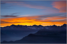 Galleritryk  Colorful sky at sunset over the Alps - Fabio Lamanna