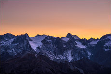 Galleritryk  Massif des Ecrins glaciers at sunset, the Alps - Fabio Lamanna