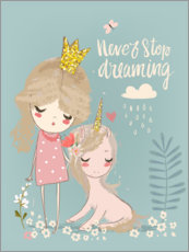 Akrylbillede  Never stop dreaming - Kidz Collection