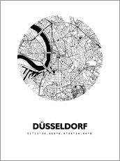 Selvklæbende plakat  City map of Dusseldorf - 44spaces
