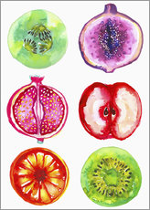 Selvklæbende plakat  Delicious fruits in watercolor - Ikon Images