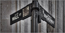 Galleritryk  NYC Wall Street And Broadway Sign-New York City's Broadway Canyon of Heroes and Wall Street Sign. - age fotostock