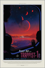 Selvklæbende plakat  Retro Space Travel ? TRAPPIST-1e