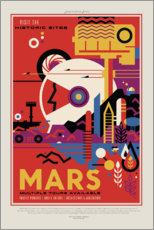 Selvklæbende plakat  Retro Space Travel ? Mars