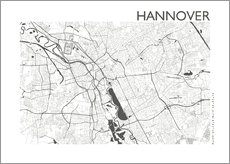 Selvklæbende plakat  City map of Hannover - 44spaces