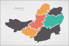 Selvklæbende plakat Somerset county map modern abstract with round shapes