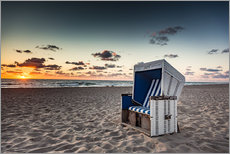Selvklæbende plakat  Beach chair on Sylt at sunset - Heiko Mundel