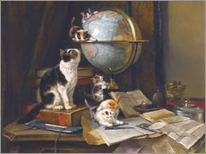 Selvklæbende plakat A cat with a globe