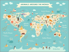 Galleritryk  Map of the world with animals - Kidz Collection