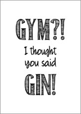 Lærredsbillede  Gym or Gin - Typobox
