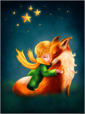 Print på aluminium  The Little Prince and The Fox - Elena Schweitzer