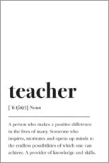 Premium-plakat Teacher Definition (engelsk)