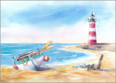 Akrylbillede  Beach with lighthouse - Jitka Krause
