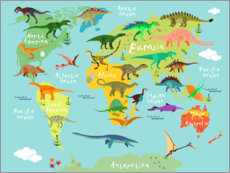 Selvklæbende plakat  Dinosaur Worldmap - Kidz Collection
