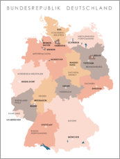 Lærredsbillede  Federal states and capital cities of the federal republic of Germany