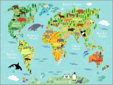 Lærredsbillede  Animal Worldmap - Kidz Collection