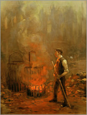 Premium-plakat Worker at the coal stove
