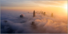 Premium-plakat Frankfurt am Main in the fog