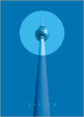 Print på træ  Berlin TV tower - Black Sign Artwork