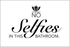 Selvklæbende plakat  No selfies in the bathroom - Typobox