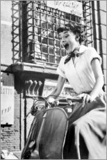 Lærredsbillede  Audrey Hepburn på en Vespa - Celebrity Collection