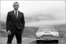 Print på aluminium  Daniel Craig som James Bond (sort-hvid) - Celebrity Collection