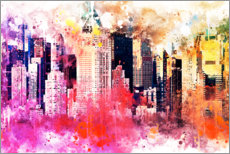 Akrylbillede  NYC - City of Colors - Philippe HUGONNARD