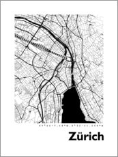 Lærredsbillede  Bykort over Zürich - 44spaces