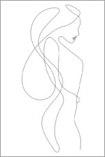 Print på aluminium  Lady with long hair - lineart - Sasha Lend