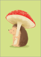 Premium-plakat  Hedgehog with mushroom - Sandy Lohß