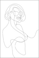 Lærredsbillede  Woman with sunglasses - lineart - Sasha Lend