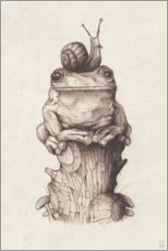 Akrylbillede  The frog and the snail, vintage - Mike Koubou