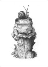 Premium-plakat The frog and the snail, black and white