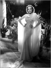 Lærredsbillede  Marlene Dietrich in a white chiffon dress
