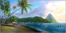 Akrylbillede  Soufriere Beach - Jonathan Guy-Gladding