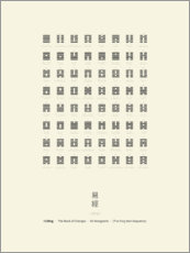 Akrylbillede  I Ching Chart With 64 Hexagrams (King Wen sequence) - Thoth Adan