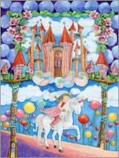 Akrylbillede  Princess and the unicorn in the magic land - Atelier BuntePunkt
