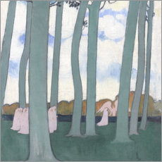 Selvklæbende plakat  Landscape with green trees or beeches in Kerduel - Maurice Denis