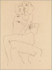 Print på træ  Couple Embracing - Egon Schiele