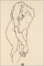 Galleritryk  Bending woman with head bowed and crossed hands - Egon Schiele