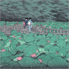 Premium-plakat  Pond at Benten Shrine (detail) - Kawase Hasui
