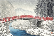 Akrylbillede  Shinkyo bridge in Nikko under the snow - Kawase Hasui